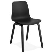 Design stoel 'PACIFIK' zwart met zwarte houten poten