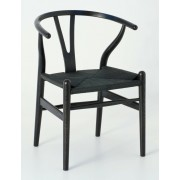 Replica Hans Wegner Wishbone Chair - Black Frame (grain visible) Black seat - Ash Timber