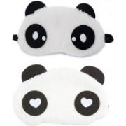 Jonty WH Dot Panda Travel Sleep Cover Blindfold (Pack of 2) Eye Shade(White)