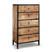 Rose & Moore Cabinet Industriel 5 tiroirs en Bois et Métal Rose & Moore