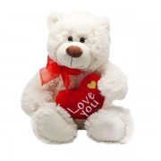 Big 15 Inch White Fluffy Teddy Bear holding Love You Heart