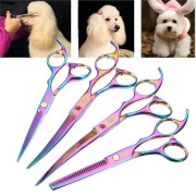 7 Inches Stainless Steel Pet Hair Scissors Dog Grooming Scissors Cutting Curving Thinning Shears