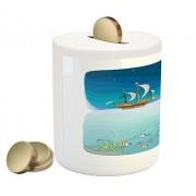 Fantasy Piggy Bank by Lunarable, Pirate Ship Sailing at Night Treasure Island Starfish Coral Sea Scene Illustration, Printed Ceramic Coin Bank Money Box for Cash Saving, Multicolor