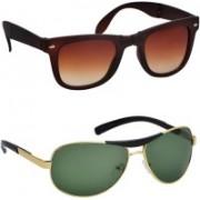 Spexra Wayfarer, Clubmaster Sunglasses(Green, Brown)