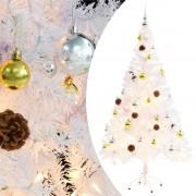 vidaXL Изкуствена елха, украсена с играчки и LED лампи, 150 см, бяла
