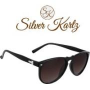 Silver Kartz Wayfarer, Round Sunglasses(Brown)