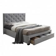 SANTOLA luxus modern ágy lécezett ágyráccsal, nagy steppelt fejtámlával, 180x200 szürke szövet/fa
