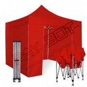 ray bot Gazebo pieghevole 3x3 rosso Exa 45mm alluminio con laterali. PVC 350g