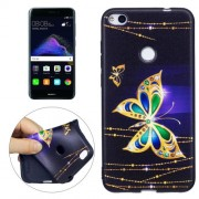 Huawei P8 Lite (2017) Golden Butterfly Pattern Stereo Relief TPU Protective Back Cover