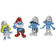 The Smurfs Movie Collectible Figure 4 Pack - Brainy Smurfette Papa Smurf & Clumsy