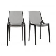 Miliboo Chaises design grises fumées empilables intérieur / extérieur (lot de 2) YZEL