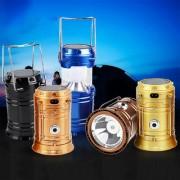 6 LED PORTABLE RETRACTABLE EMERGENCY LIGHT LAMP TENT LANTERN SOLAR CHARGING WATERPROOF