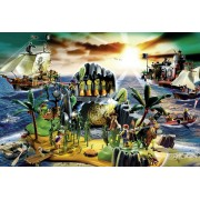 Puzzle Schmidt - Insula piratilor, 150 piese, include 1 figurina Playmobil (56020)