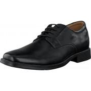Clarks Tilden Plain Black Leather, Skor, Lågskor, Finskor, Svart, Herr, 44