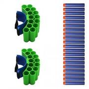 GouGou 2PCS Bullet Dart Wrist Belt Band Strap 14-dart Foam Refill Darts 20PCS Blue for Nerf N-strike Blasters Toy Gun Accessories