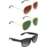 Abner Aviator, Aviator, Wayfarer Sunglasses(Brown, Green, Black)