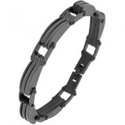 The Jewelbox Designer Biker Solid Black Plated 316L Surgical Stainless Steel Bracelet For Boys Men