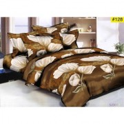 Luxmi Attractive flowers Design 3D Double Bed sheets With 2 Piilow covers - Brown