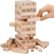 Colitive Blocks 4 Dices Wooden Tumbling Stacking Jenga Building Tower Game -Set of 52 Pieces