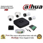 Dahua HDCVI DH-HCVR4104C-S2 4CH DVR + Dahua HDCVI 1000RP Bullet Camera 2Pcs And Dome Camera 2Pcs + 1TB HDD + Active Cable + Active Power Supply Full Combo