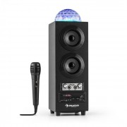 Auna DiscoStar Negro Portátil 2.1 Altavoz con Bluetooth USB SD Batería LED Micrófono (CS6-DiscoStar Black)