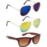 NuVew Aviator, Wayfarer Sunglasses(Brown, Blue, Golden)