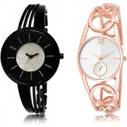 The Shopoholic Black Silver Combo Best Combo Pack Black And Silver Dial Analog Watch For Girls Belt For Watches Women