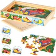 Puzzle lemn cu 4 imagini diferite Kehl 48 piese de puzzle