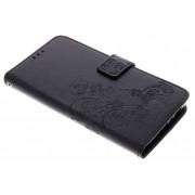 Zwarte klavertje bloemen booktype hoes voor de Sony Xperia L2