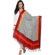 Swaron Women's Red and Cream Colored Ethnic Printed Bhagalpuri Silk Dupatta