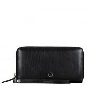 Schwarze Damen Leder Clutch mit abnehmbarer Schlaufe
