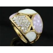 Lila Swarovski kristályos dizájner gyűrű, arany színű-6