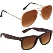 John Dior Aviator, Wayfarer Sunglasses(Brown, Brown)