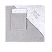 Maisons du Monde Capa de baño de bebé de algodón gris y blanco