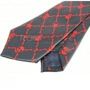 Krawat czarno czerwony - CZASZKI PISZCZELE (K-14)