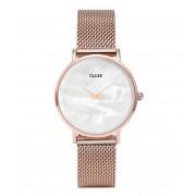CLUSE Horloges Minuit La Perle Mesh Rose Gold Plated Zwart