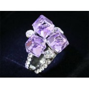 Lila Swarovski kristályos dizájner gyűrű-7