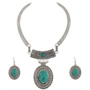 Lucky Jewellery Tribal Designer Silver Plated Retro Tibetan Oxidised Bohemian Oval Greenish Blue Turquoise Pendant Locket Set With Drop Earrings Hasli Kanthi Necklace For Girls & Women