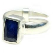 YogiGems 3.25 Ratti Certified Natural Blue Sapphire Neelam Square Shape Adjustable Ring