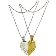 Men Style Couple his and herLove you Necklace Combined Heart for Valentine's Day Gift (2 pieces - his and her) Gold And Silver Stainless Steel Heart Pendent For Men And Women