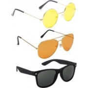 Elligator Round, Aviator, Wayfarer Sunglasses(Yellow, Orange, Black)
