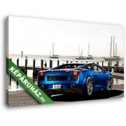 Kék Lamborghini Gallardo a kikötőben (40x25 cm, Vászonkép )