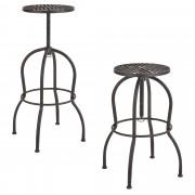 [en.casa]® Bárszék Isztambul 2 darabos fém design konyhai szék szett 66 x 39 x 39 cm rozsdabarna