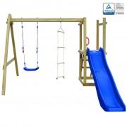 vidaXL Casa com escada, escorrega e baloiço 242x237x175 cm madeira