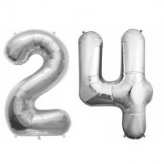 De-Ultimate Solid Silver Color 2 Digit Number (24) 3d Foil Balloon for Birthday Celebration Anniversary Parties