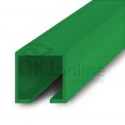 Perfil trilho 12x12 mm abertura de 2 mm em PS verde barra 3 metros