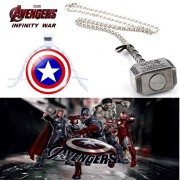2 Pc AVENGER SET - THOR HAMMER - SILVER COLOUR & CAPTAIN AMERICA 3D GLASS DOME IMPORTED METAL PENDANTS WITH CHAIN ❤ LATEST ARRIVALS - RINGS, KEYCHAINS, BRACELET & T SHIRT - CAPTAIN AMERICA - AVENGERS - MARVEL - SHIELD - IRONMAN - HULK - THOR - X MEN - DC