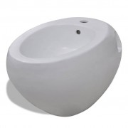 vidaXL Bidé para pendurar na parede cerâmica branco