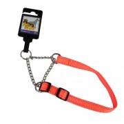 Hundhalsband stryp justerbart av nylon orange reflex 15mm x 30-45cm