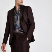 River Island Mens RI 30 burgundy skinny fit suit jacket (36R)